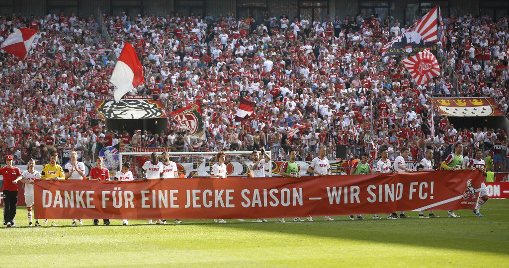 COLOGNE, GERMANY - MAY 07: Team Cologne thanks the fans for a good season during the Bundesliga match between 1. FC Koeln and Werder Bremen at RheinEnergieStadion on May 7, 2016 in Cologne, Germany. (Photo by Mika Volkmann/Bongarts/Getty Images)