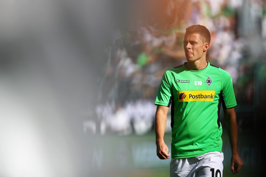 MOENCHENGLADBACH, GERMANY - SEPTEMBER 24: Thorgan Hazard looks on prior to the Bundesliga match between Borussia Moenchengladbach and FC Ingolstadt 04 at Borussia-Park on September 24, 2016 in Moenchengladbach, Germany. (Photo by Dean Mouhtaropoulos/Bongarts/Getty Images)
