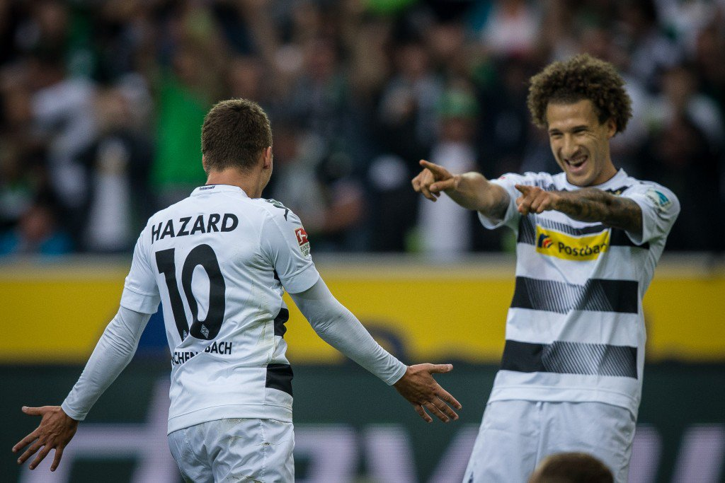 MOENCHENGLADBACH, GERMANY - SEPTEMBER 17: Fabian Johnson (R) and goal scorer Thorgan Hazard of Moenchengladbach celebrate after scoring a goal to make it 1-0 at the Bundesliga match between Borussia Moenchengladbach and Werder Bremen at Borussia-Park on September 17, 2016 in Moenchengladbach, Germany. (Photo by Maja Hitij/Bongarts/Getty Images)