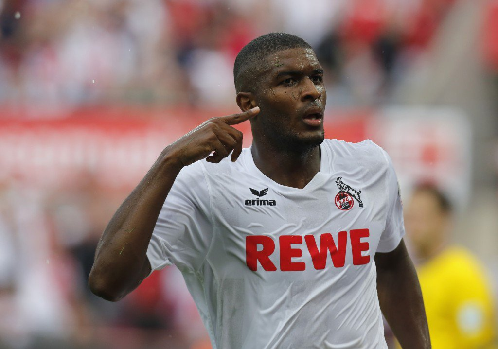 COLOGNE, GERMANY - AUGUST 27: Anthony Modeste of Cologne celebrates after scoring the 2nd goal during the Bundesliga match between 1. FC Koeln and SV Darmstadt 98 at RheinEnergieStadion on August 27, 2016 in Cologne, Germany. (Photo by Juergen Schwarz/Bongarts/Getty Images)