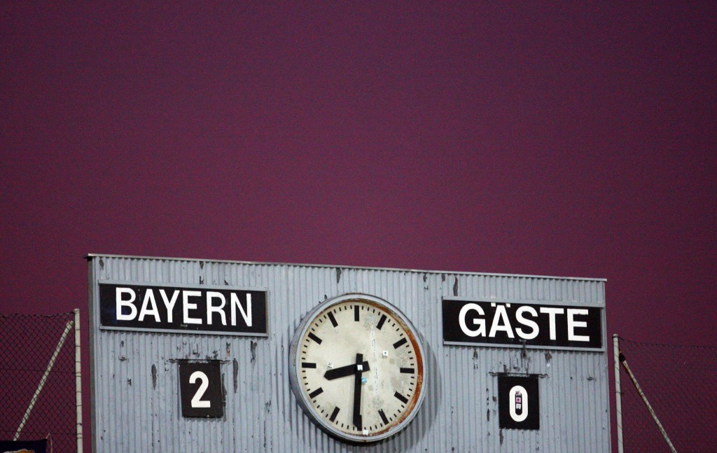 MUNICH, GERMANY - AUGUST 29: The match result is written on the Stadion panel during the Third Liga match between Bayern Muenchen II and Carl Zeiss Jena at the Gruenwalder Stadion on August 29, 2008 in Munich, Germany (Photo by Johannes Simon/Bongarts/Getty Images)