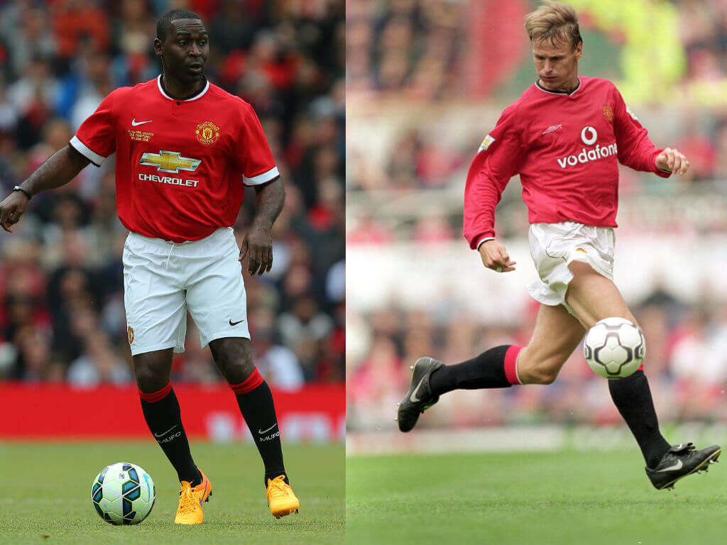 Andy Cole vs Teddy Sheringham. Fotos: Getty Images