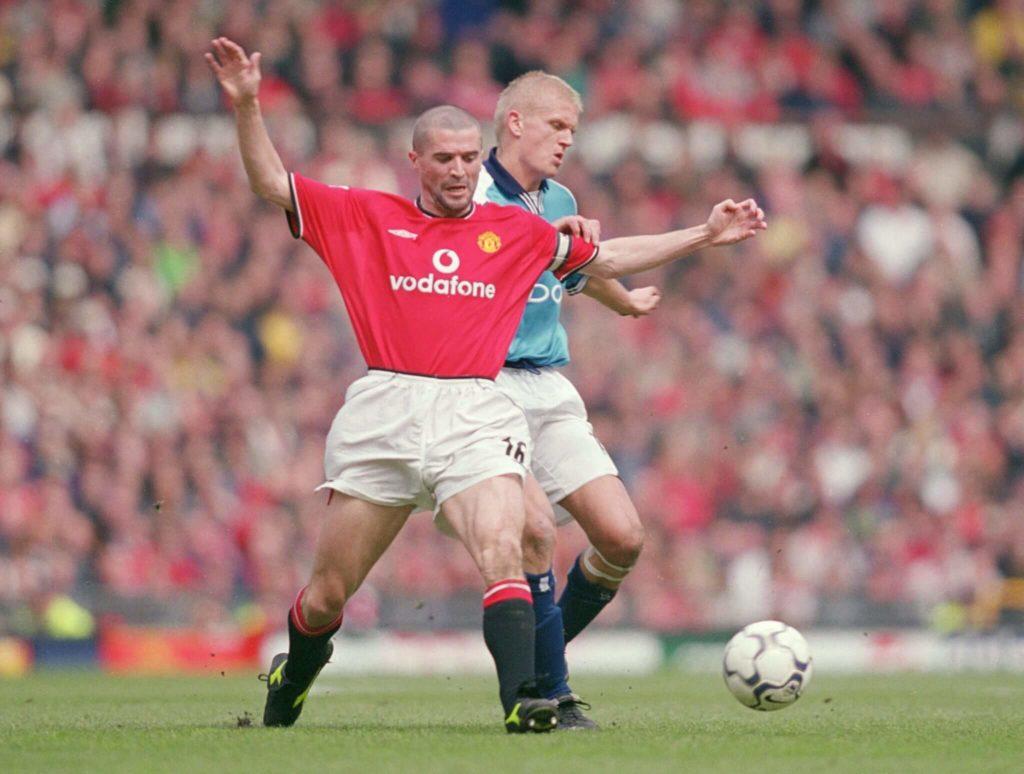 Keane vs. Haaland - ein übles Duell. Mandatory Credit: Gary MPrior/Allsport