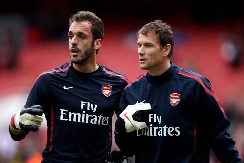 LONDON, ENGLAND - APRIL 02: Goalkeepers Jens Lehmann and Manuel Almunia of Arsenal warm up prior to the Barclays Premier League match between Arsenal and Blackburn Rovers at the Emirates Stadium on April 2, 2011 in London, England. (Photo by Julian Finney/Getty Images)