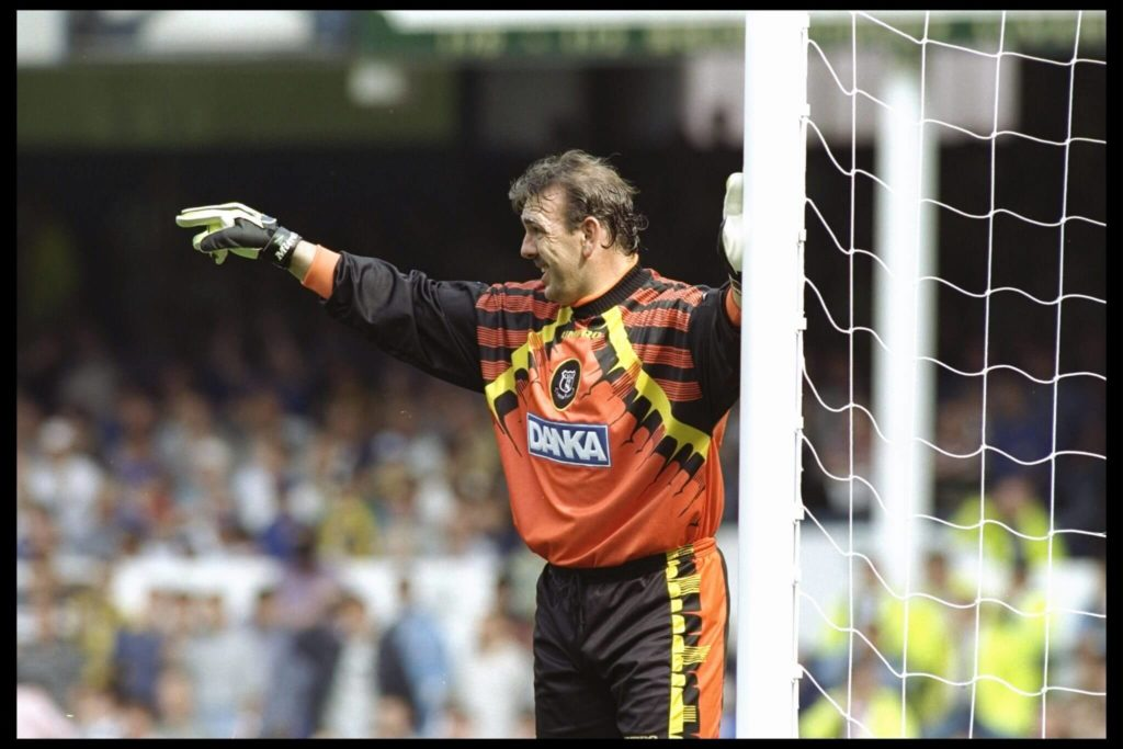 17 Aug 1996: Neville Southall of Everton makes a point during the Premier League match between Everton and Newcastle at Goodison Park in Liverpool. Everton went on to win the match by 2-0. Mandatory Credit: Shaun Botterill/Allsport UK