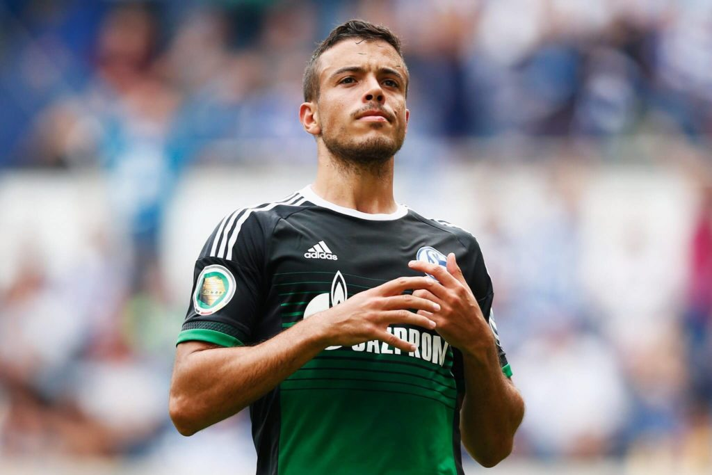 DUISBURG, GERMANY - AUGUST 08: Franco Di Santo of FC Schalke 04 looks on after missing a penalty during the DFB Cup match between MSV Duisburg and FC Schalke 04 held at Schauinsland-Reisen-Arena on August 8, 2015 in Duisburg, Germany. (Photo by Dean Mouhtaropoulos/Bongarts/Getty Images)