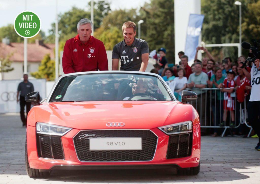Carlo Ancelotti und Philipp Lahm bei einer Audi-Präsentation. Foto: Getty Images