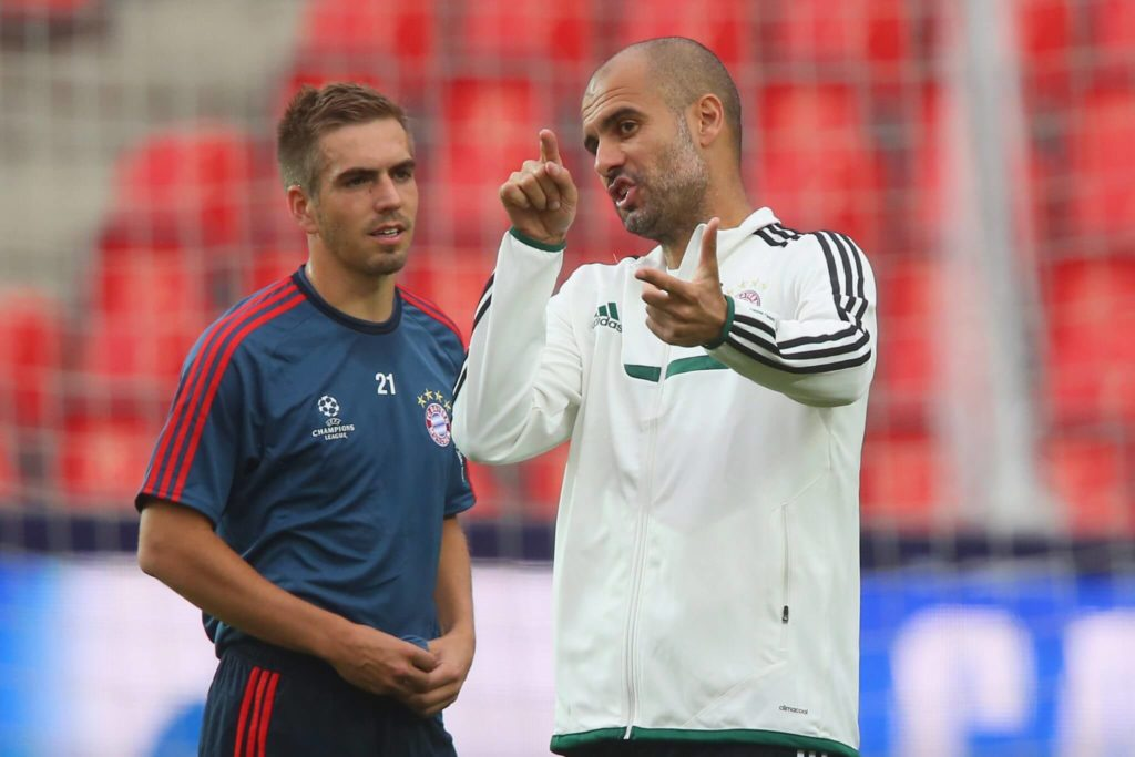 Philipp Lahm (links) und Pep Guardiola. Foto: Getty Images