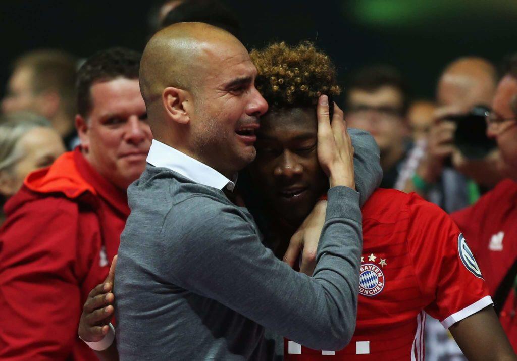 David Alaba (rechts) mit Pep Guardiola. Foto: Getty Images