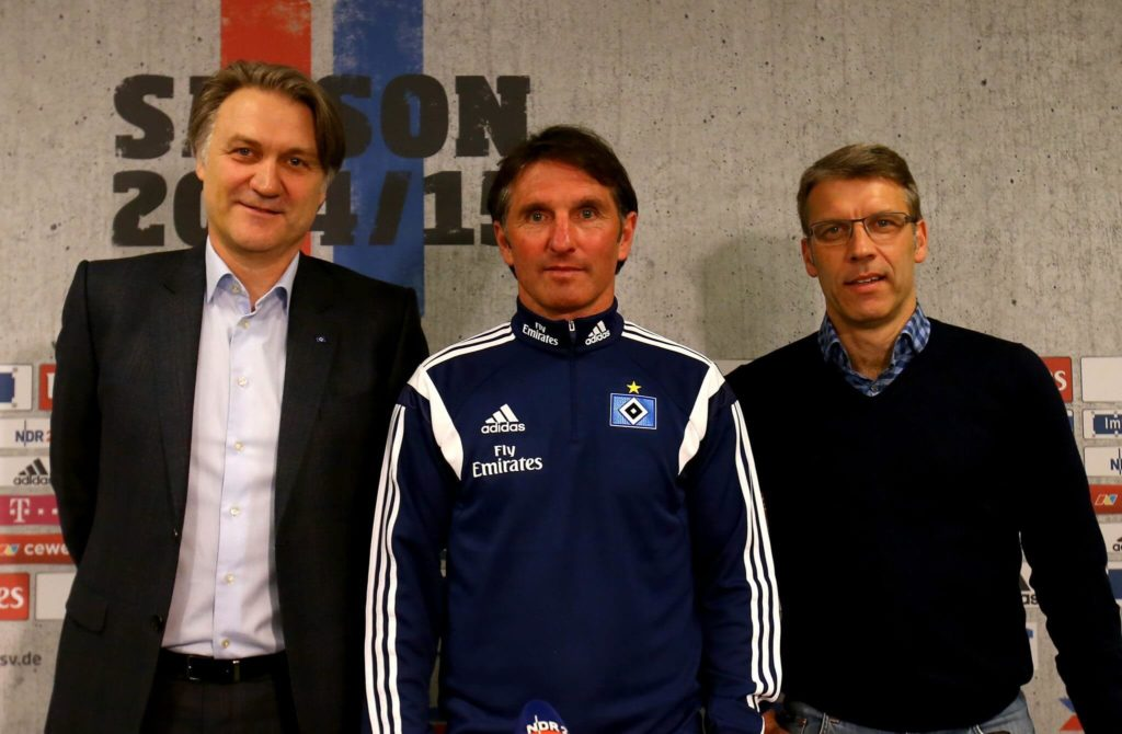 HAMBURG, GERMANY - APRIL 15: (L-R) Dietmar Beiersdorfer, chairman of Hamburger SV, Bruno Labbadia, new head coach of Hamburger SV and Peter Knaebel, director of professional football pose for a photo during a press conference on April 15, 2015 in Hamburg, Germany. (Photo by Martin Rose/Bongarts/Getty Images)