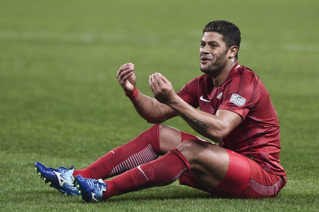 SHANGHAI, CHINA - FEBRUARY 28: Hulk #10 of Shanghai SIPG reacts during the AFC Champions League 2017 Group F match between Shanghai SIPG and Western Sydney Wanderers at Shanghai Stadium on February 28, 2017 in Shanghai, China. (Photo by Visual China/Getty Images)