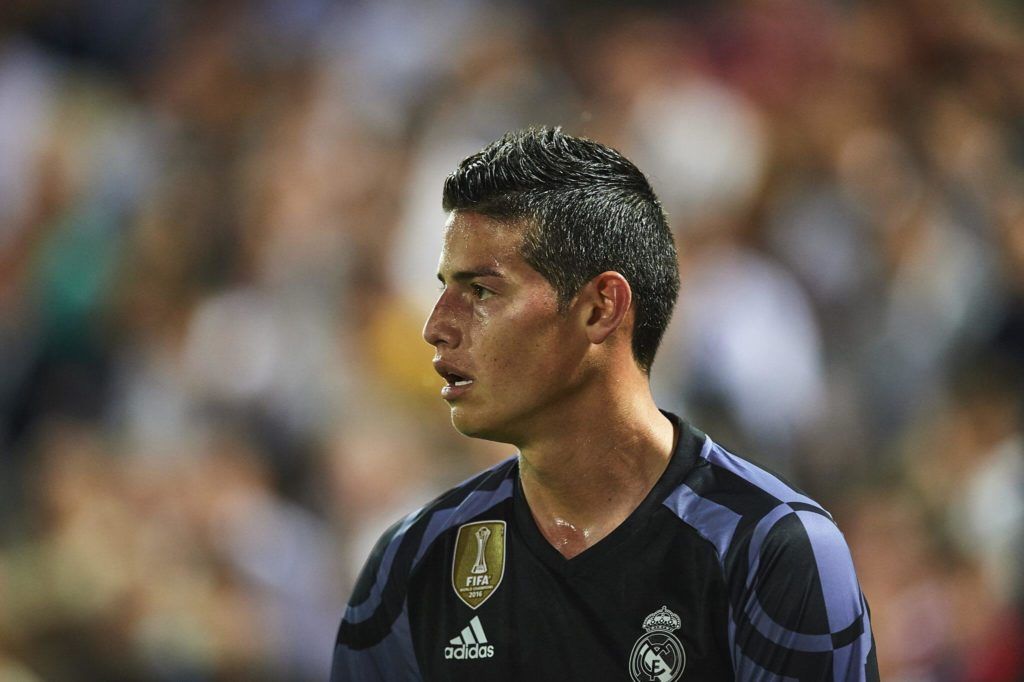 GRANADA, SPAIN - MAY 06: James Rodriguez of Real Madrid CF looks on during the La Liga match between Granada CF v Real Madrid CF at Estadio Nuevo Los Carmenes on May 6, 2017 in Granada, Spain. (Photo by Aitor Alcalde/Getty Images)