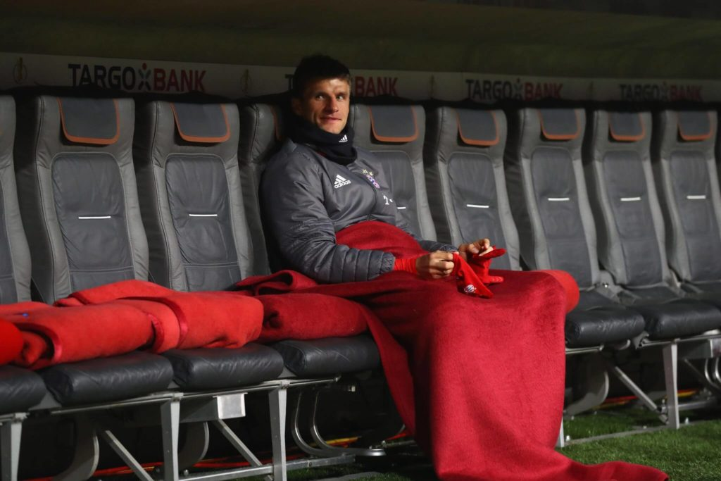 MUNICH, GERMANY - APRIL 26: Thomas Mueller of Muenchen looks on from the team bench prior to the DFB Cup semi final match between FC Bayern Muenchen and Borussia Dortmund at Allianz Arena on April 26, 2017 in Munich, Germany. (Photo by Alexander Hassenstein/Bongarts/Getty Images)