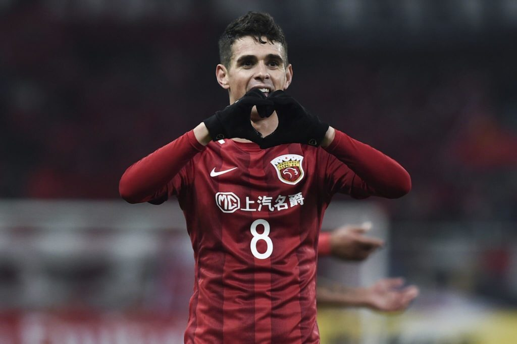 SHANGHAI, CHINA - FEBRUARY 28: Oscar #8 of Shanghai SIPG celebrates after scoring his team's second goal during the AFC Champions League 2017 Group F match between Shanghai SIPG and Western Sydney Wanderers at Shanghai Stadium on February 28, 2017 in Shanghai, China. (Photo by Visual China/Getty Images)