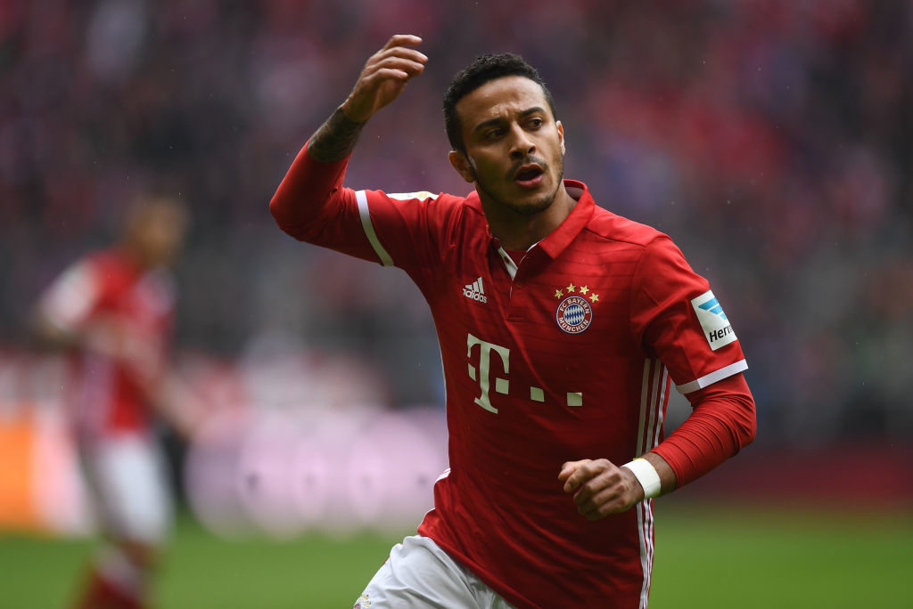 MUNICH, GERMANY - APRIL 22: Thiago Alcantara of Bayern Muenchen celebrates scoring his side's second goal during the Bundesliga match between Bayern Muenchen and 1. FSV Mainz 05 at Allianz Arena on April 22, 2017 in Munich, Germany. (Photo by Lennart Preiss/Bongarts/Getty Images)