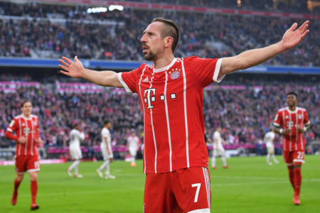 MUNICH, GERMANY - MARCH 10: Franck Ribery of Bayern Muenchen celebrates after he scored a goal to make it 5:0 during the Bundesliga match between FC Bayern Muenchen and Hamburger SV at Allianz Arena on March 10, 2018 in Munich, Germany. (Photo by Sebastian Widmann/Bongarts/Getty Images)