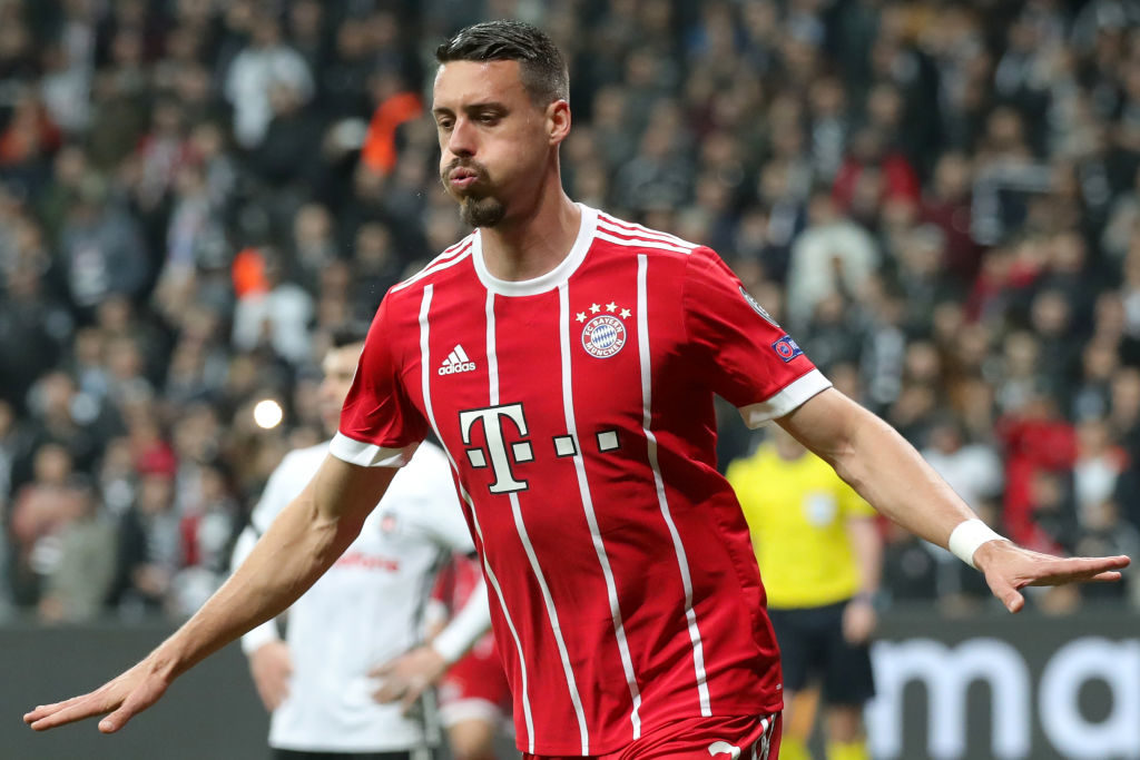 ISTANBUL, TURKEY - MARCH 14: Sandro Wagner of Bayern Muenchen celebrates as he scores their third goal during the UEFA Champions League Round of 16 Second Leg match Besiktas and Bayern Muenchen at Vodafone Park on March 14, 2018 in Istanbul, Turkey. (Photo by Alexander Hassenstein/Bongarts/Getty Images)