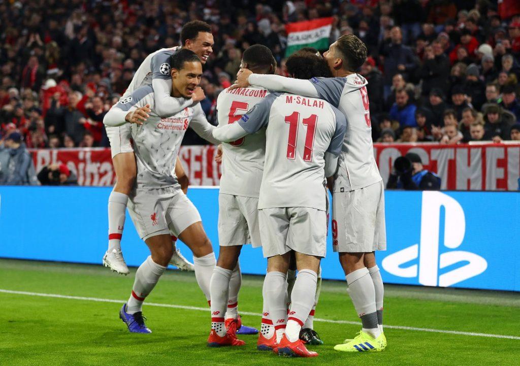 Sadio Mane von Liverpool (verdeckt) feiert, als er am 13. März 2019 in der Allianz Arena am 13. März 2019 in der Allianz Arena der UEFA Champions League in in der Allianz Arena das erste Tor seiner Mannschaft erzielt.