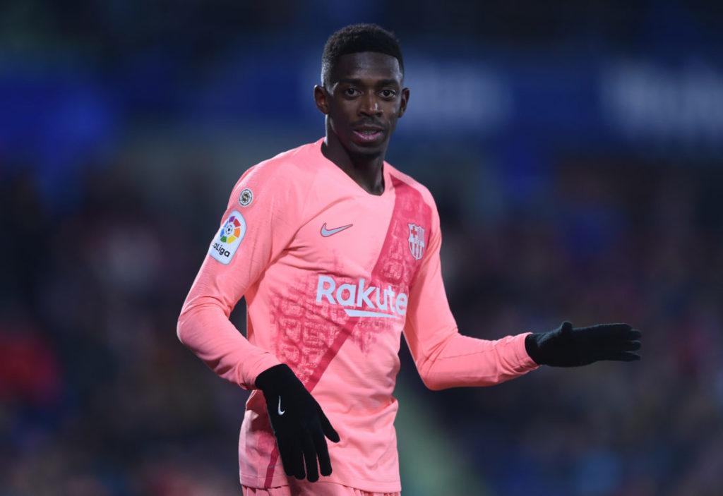 Ousmane Dembélé im Auswärtsdress des FC Barcelona.
