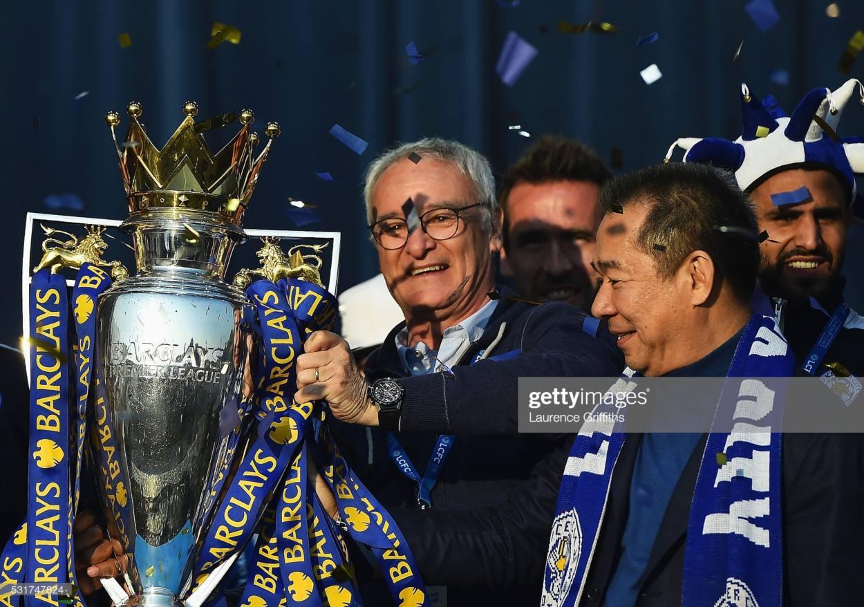 laudio Ranieri of Leicester City and Vichai Srivaddhanaprabha
