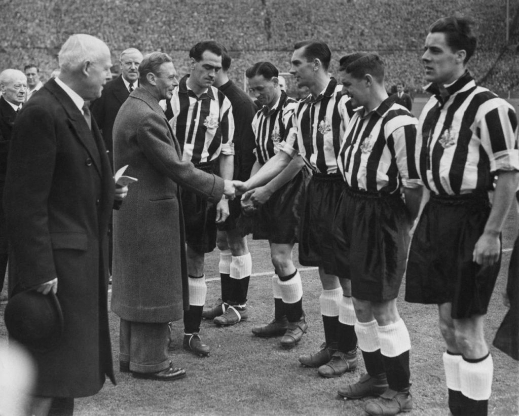 Newcastle United captain Joe Harvey introduces His Majesty King George VI to Newcastle United centre forward Jackie Milburn and the rest of the Newcastle United team before their FA Cup final match against Blackpool on 26 April 1951 at Wembley Stadium, London, United Kingdom. Jackie Milburn will score both goals in Newcastle's 2-0 win.