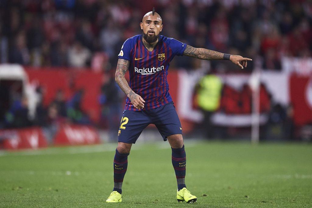 Arturo Vidal playing for FC Barcelona gainst Athletic Club in La Liga
