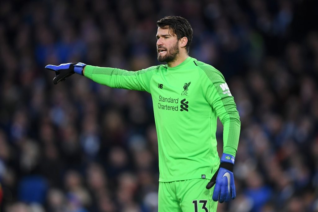 Alisson Becker during the Premier League match between Brighton & Hove Albion and Liverpool FC at American Express Community Stadium on January 12, 2019 in Brighton, United Kingdom.