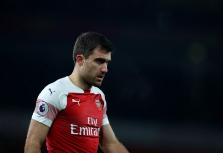 LONDON, ENGLAND - JANUARY 19: Sokratis Papastathopoulos of Arsenal during the Premier League match between Arsenal FC and Chelsea FC at Emirates Stadium on January 19, 2019 in London, United Kingdom.