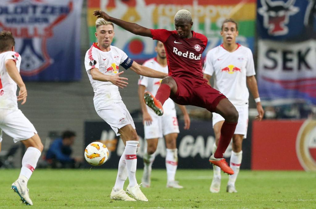 2018: Kevin Kampl und Amadou Haidara im direkten Duell RB Leipzig gegen FC Salzburg in der Europa League.