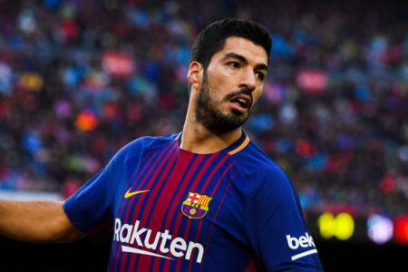 BARCELONA, SPAIN - MARCH 04: Luis Suarez of FC Barcelona looks on during the La Liga match between Barcelona and Atletico Madrid at Camp Nou on March 4, 2018 in Barcelona, Spain.