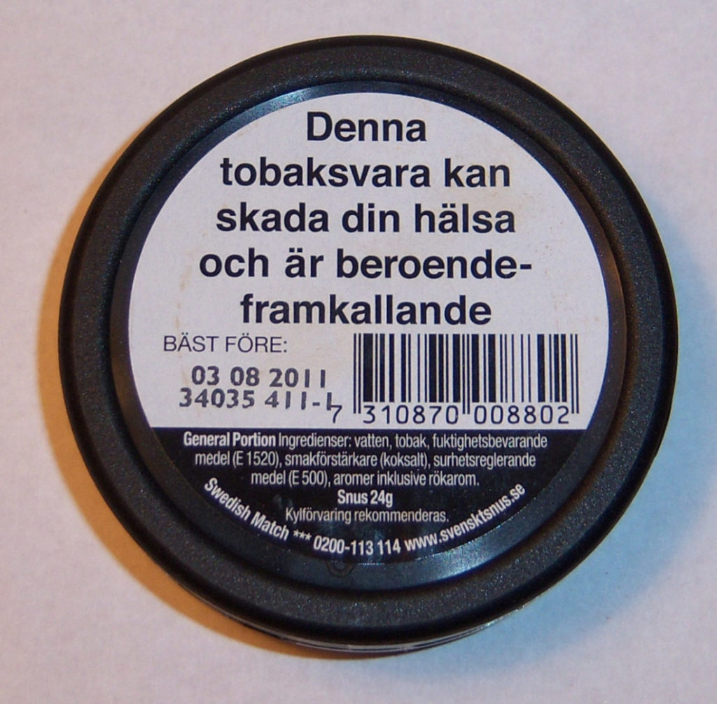 Snus-Warnung in Schweden. Foto: Wikipedia