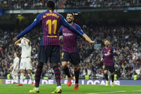 Luis Suárez und der ehemalige Dortmunder Ousmane Dembélé jubeln für Barcelona in Bernabeu. Bis beide wieder zur Verfügung stehen, kann es noch lange dauern...