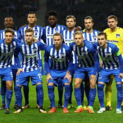 Team-Fotos von Hertha BSC in den Europapokal-Wettbewerben, hier gegen Zorya Luhansk aus der Ukraine in der Europa League, haben Seltenheitswert...