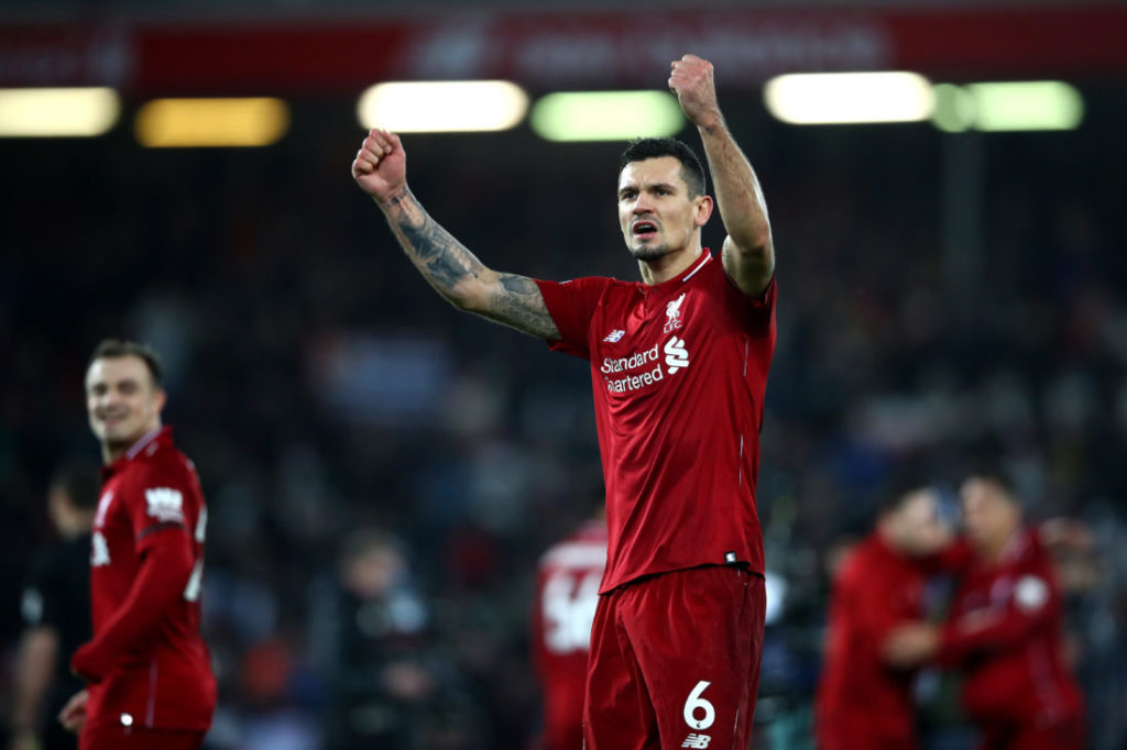 LIVERPOOL, ENGLAND - DECEMBER 29:  Dejan Lovren of Liverpool celebrates during the Premier League match between Liverpool FC and Arsenal FC at Anfield on December 29, 2018 in Liverpool, United Kingdom.