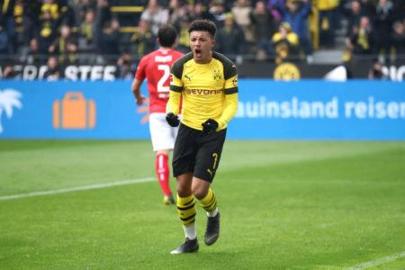 Jadon Sancho bejubelt das 1:0 für Borussia Dortmund gegen Mainz 05.