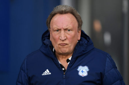 BRIGHTON, ENGLAND - APRIL 16: Neil Warnock, Manager of Cardiff City during the Premier League match between Brighton & Hove Albion and Cardiff City at American Express Community Stadium on April 16, 2019 in Brighton, United Kingdom.