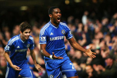 LONDON, ENGLAND - DECEMBER 29: Samuel Eto'o of Chelsea celebrates after scoring his team's second goal during the Barclays Premier League match between Chelsea and Liverpool at Stamford Bridge on December 29, 2013 in London, England.