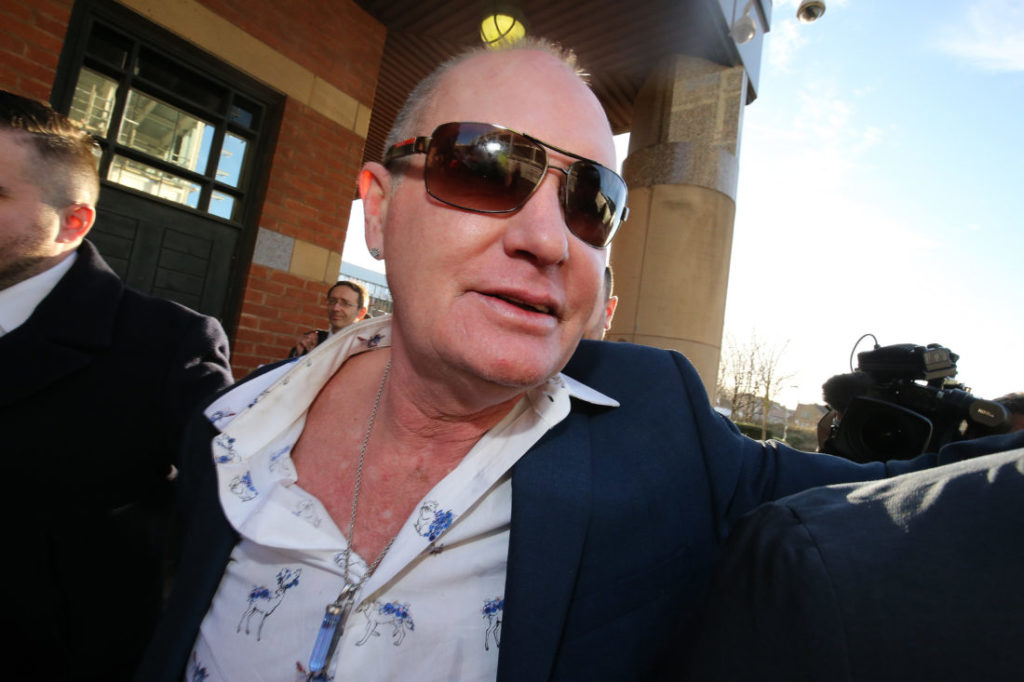 MIDDLESBROUGH, ENGLAND - JANUARY 08: Former England footballer Paul Gascoigne leaves Teesside Crown Court on January 8, 2019 in Middlesbrough, England. Gascoigne was arrested at Durham station on 20 August by British Transport Police and charged with one count of sexual assault by touching which he has pleaded not guilty to at a previous Magistrates hearing. The case has been ajourned until October.