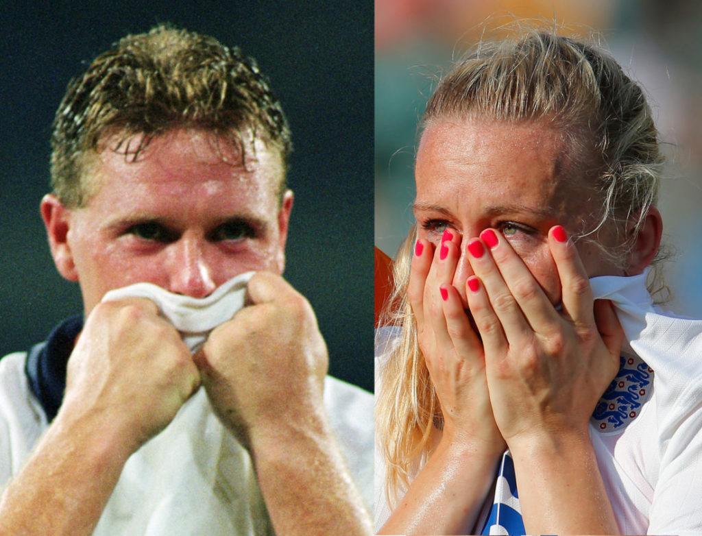 Paul Gascoigne of England bursts into tears after losing the FIFA World Cup Finals 1990 Semi-Final match between West Germany and England played at the Stadio Delle Alpi, in Turin, Italy on July 4, 1990. The match ended in a 1-1 draw after extra-time, with West Germany winning 4-3 in the penalty shoot-out.