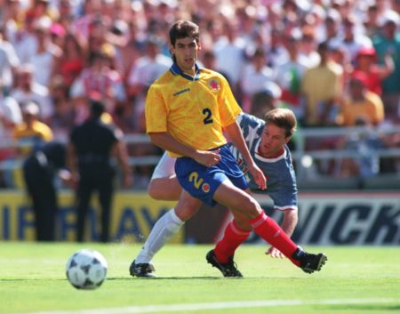 22 JUN 1994:   ANDRES ESCOBAR #2 OF COLOMBIA IN ACTION SHIELDS THE BALL FROM ERIC WYNALDA OF THE USA DURING THE 1994 WORLD CUP MATCH AT THE ROSE BOWL IN PASADENA, CALIFORNIA.
