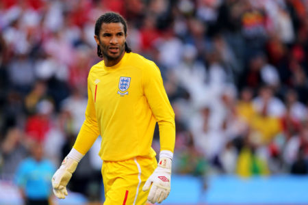 BLOEMFONTEIN, SOUTH AFRICA - JUNE 27:  David James of England looks on during the 2010 FIFA World Cup South Africa Round of Sixteen match between Germany and England at Free State Stadium on June 27, 2010 in Bloemfontein, South Africa.
