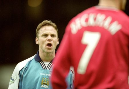 18 Nov 2000: Paul Dickov of Manchester City argues with David Beckham of Manchester United during the FA Carling Premier League match played at Maine Road in Manchester, England. United won the game 1-0.