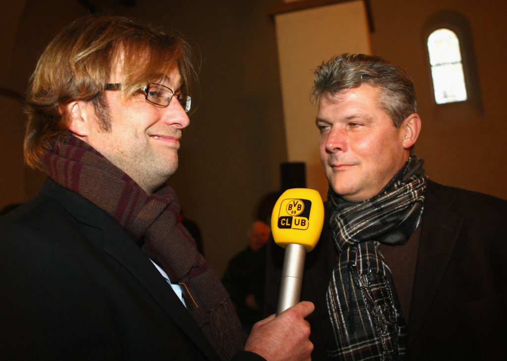 Jürgen Klopp und Norbert Dickel bei der 100-Jahrfeier des BVB.