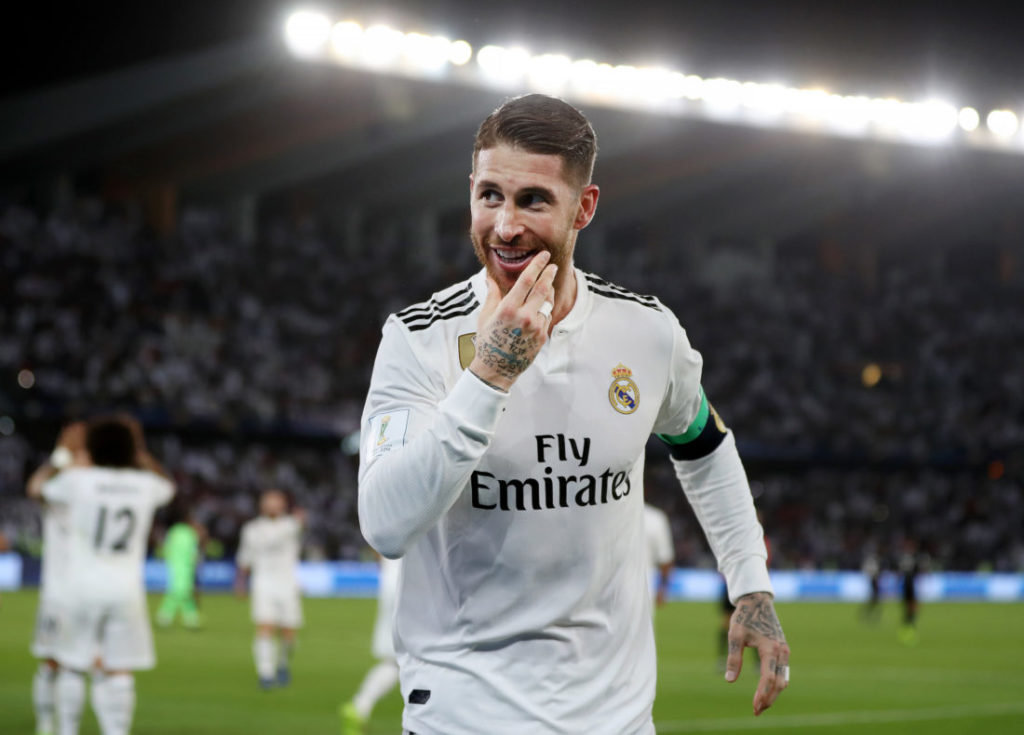 ABU DHABI, UNITED ARAB EMIRATES - DECEMBER 22:  Sergio Ramos of Real Madrid celebrates after scoring his team's third goal during the FIFA Club World Cup UAE 2018 Final between Al Ain and Real Madrid at the Zayed Sports City Stadium on December 22, 2018 in Abu Dhabi, United Arab Emirates.