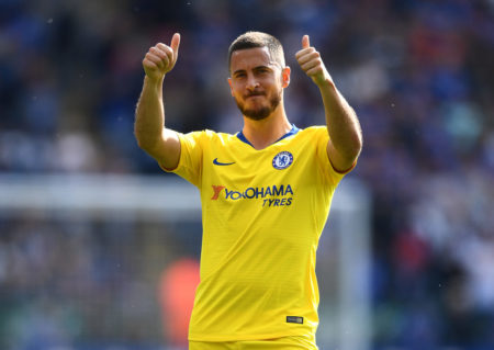LEICESTER, ENGLAND - MAY 12: Eden Hazard of Chelsea acknowledges the fans after the Premier League match between Leicester City and Chelsea FC at The King Power Stadium on May 12, 2019 in Leicester, United Kingdom.