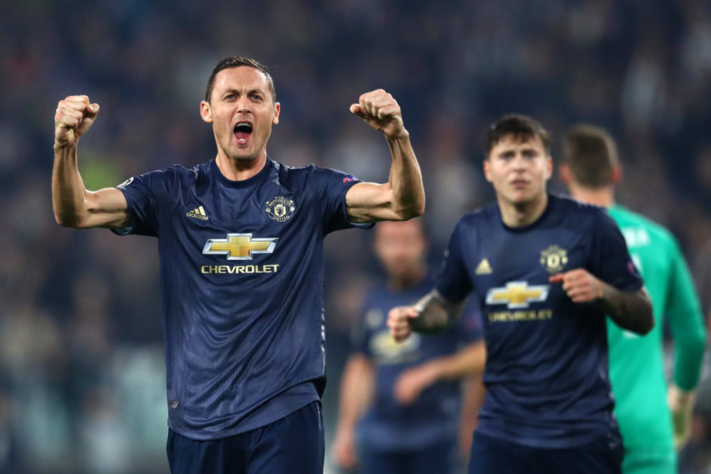 TURIN, ITALY - NOVEMBER 07: Nemanja Matic of Manchester United celebrates at the full time whistle after the UEFA Champions League Group H match between Juventus and Manchester United at Juventus Stadium on November 7, 2018 in Turin, Italy.