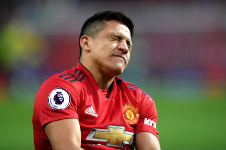 MANCHESTER, ENGLAND - MARCH 02: Alexis Sanchez of Manchester United reacts with an injury during the Premier League match between Manchester United and Southampton FC at Old Trafford on March 02, 2019 in Manchester, United Kingdom.