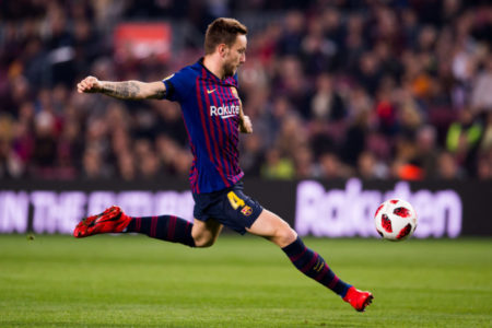 BARCELONA, SPAIN - DECEMBER 05: Ivan Rakitic of FC Barcelona shoots the ball during the Copa del Rey fourth round second leg match between FC Barcelona and Cultural Leonesa at Camp Nou on December 05, 2018 in Barcelona, Spain.