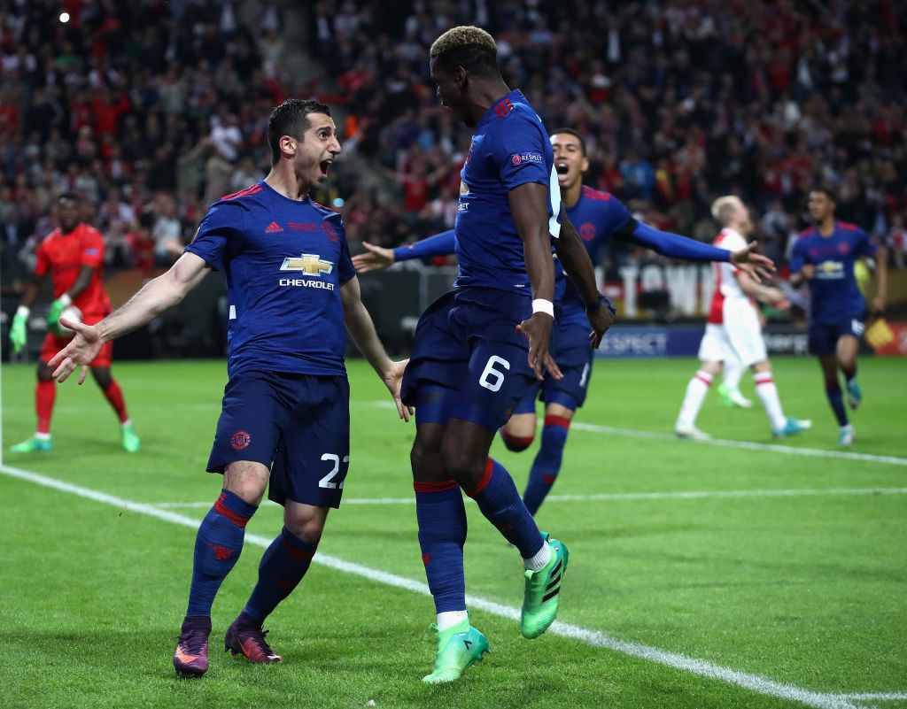 Paul Pogba (r.) und Henrikh Mkhitaryan schossen Manchester United 2017 im Finale gegen Ajax Amsterdam (2:0) in Stockholm zum Europa-League-Erfolg.