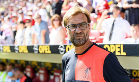 Jürgen Klopp bei seiner Rückkehr nach Mainz als Trainer des FC Liverpool am 7. August 2016. (Photo by Alexander Scheuber/Bongarts/Getty Images)